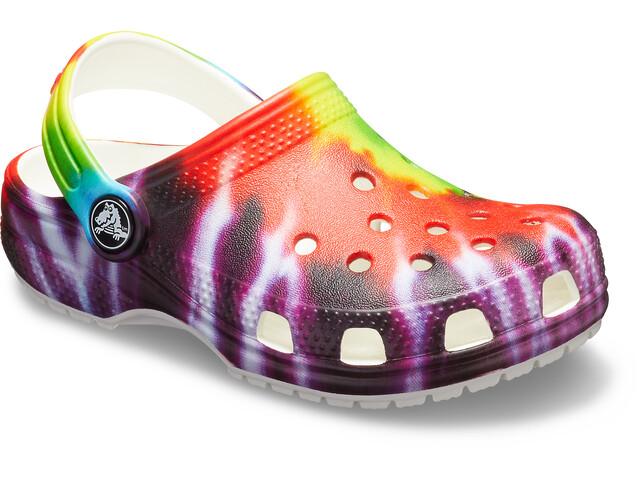 Crocs Classic Tie Dye Graphic Clogs Niños, Multicolor